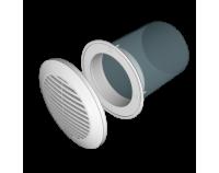 Решетка вентиляционная круглая Ф145 вытяжная АБС с фланцем Ф100 (пластиковая)